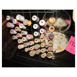 Group of sewing: rack w/ bobbins, carry case w/