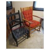 Slat back chair w/ wickr seat & slat back rocker