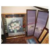 19 mixed pictures, mirror & frames