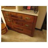 Walnut 3 drawer chst w/ marble style top
