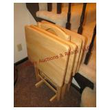 5 pc set pine tv trays 19x14 w/ carrier stand
