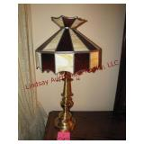 """Brass desk lamp w/ stained glass shade 29"""" tall"""