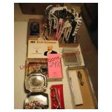 Flat w/ necklace stand, 2 jewelry boxes, cigar box