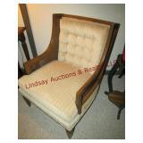 Cloth wood framed chair w/ wicker inserts