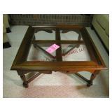 Coffee table w/ glass inserts 36x36x17