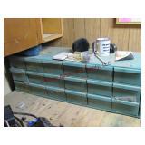 18 drawer parts bin w/ contents 34x12x11