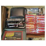 Flat 1/4 drive socket set, small wrenches &