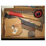 2 flats w/ hammer, prybar, tape measure,