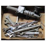 3 flats w/ adj wrenches, files, combo wrenches,