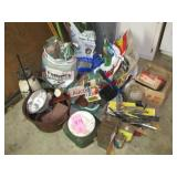 Group misc: chicken wire, oil drain pan, clock,