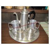 Metal pitcher w/ 2 mugs & Cream/Sugar tray