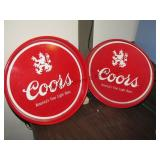 2 metal Coors serving trays
