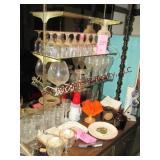 Group bar glasses, lamp, coasters, ash tray &
