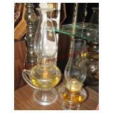 2 oil lamps w/ handles