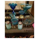 8 pcs blue glassware: swan, candy dishes,