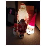 5 pcs: Vintage blow mold plastic santa (works -