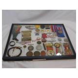 16.25x12.25 display box w/ mixed items believed to