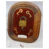 Missouri Pacific Railway padlock & keys in frame