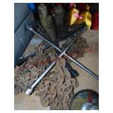 Group w/ 4 way lug wrenches, 2 - bottle jacks &