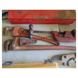 2 pipe wrenches & pipe cutter