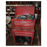 9 drawer double stack tool box w/ Contents: drill