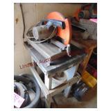 "Makita 14"" metal chop saw (works) WITH wood stand"