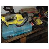 Group cordless tools: Ryobi hedge trimmer, Makita