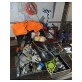 Group of misc: sorter bin, chainsaw chains, screws