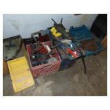Group of misc: grease gun, misc tools, large nails