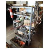 Metal shelf WITH CONTENTS: mower blades, rope,