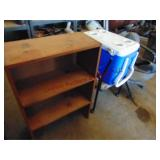 Wood bookcase, Coleman cooler & 2 - office chairs