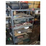 Metal shelf WITH CONTENTS: hand saws & other misc
