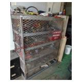 Metal storage cage w/ 4 shelves & misc contents: