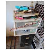 2 plastic storage bins & 2 drawer file cabinet w/