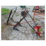2 - 2 wheeled wire racks, 1 push type scraper &
