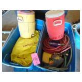 2 - totes w/ hoses, cooler jugs, & water floaties/