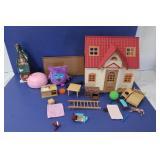 Misc Lot-Small Dollhouse,Fuzzy Wonderz & more
