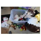 Stuffed Animal Lot w/Bin