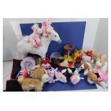 Toy Lot in Plastic Hamper-Stuffed Animals, Mattel