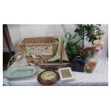 Misc Home Decor Lot-Sterling&Noble Clock, Basket,