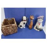 Home Decor Lot-Basket, Cat&Dog Decor
