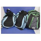 3 Backpacks(green-padded)-Excellent Condition
