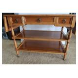 Wooden Table w/Folding Sides/3 Drawers,