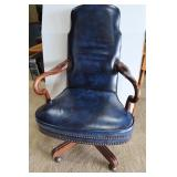 Blue Leather Office Chair w/Arms