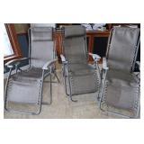 3 Folding Lounge Chairs
