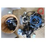 Misc Lot-Basket w/Extension Cords &more