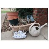 5 Outdoor Planters, Watering Can, Garden Decor