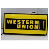 Western Union Elec Plastic Light-up Sign(works)