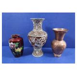 "3 Vintage Decorative Vases(Copper-6""H,Enamel"