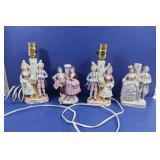 4 Vintage Porcelain Figurine Lamps made in Japan
